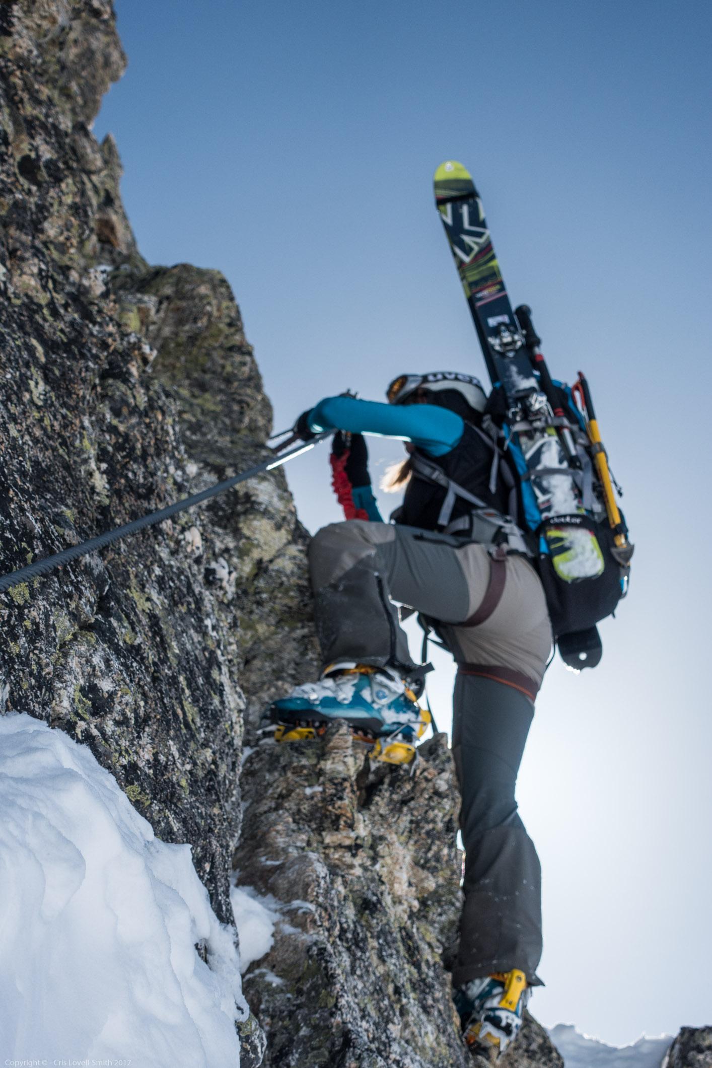 Leonie climbing 2 (Arlberger Winterklettersteig March 2017)