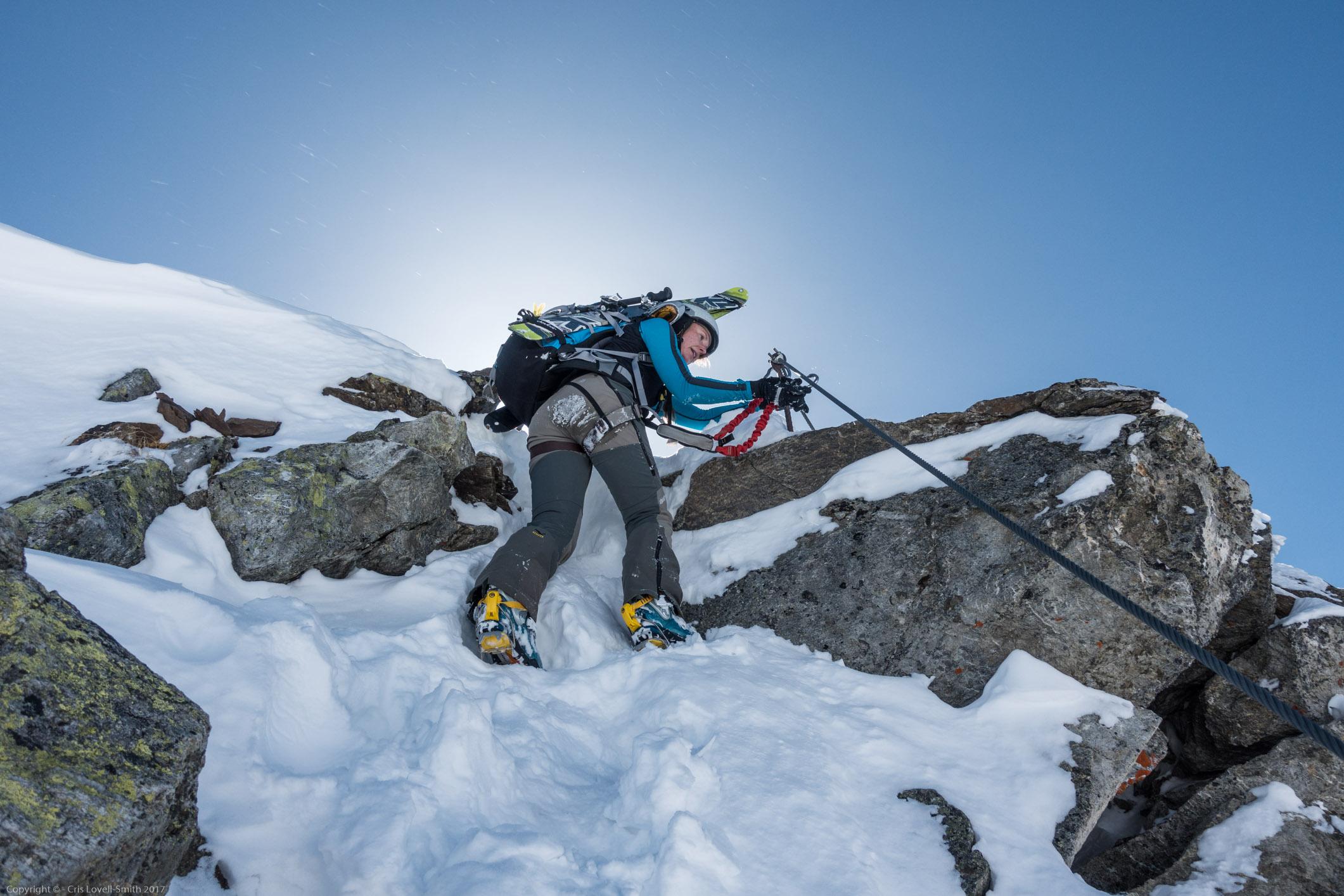 Leonie clipping (Arlberger Winterklettersteig March 2017)