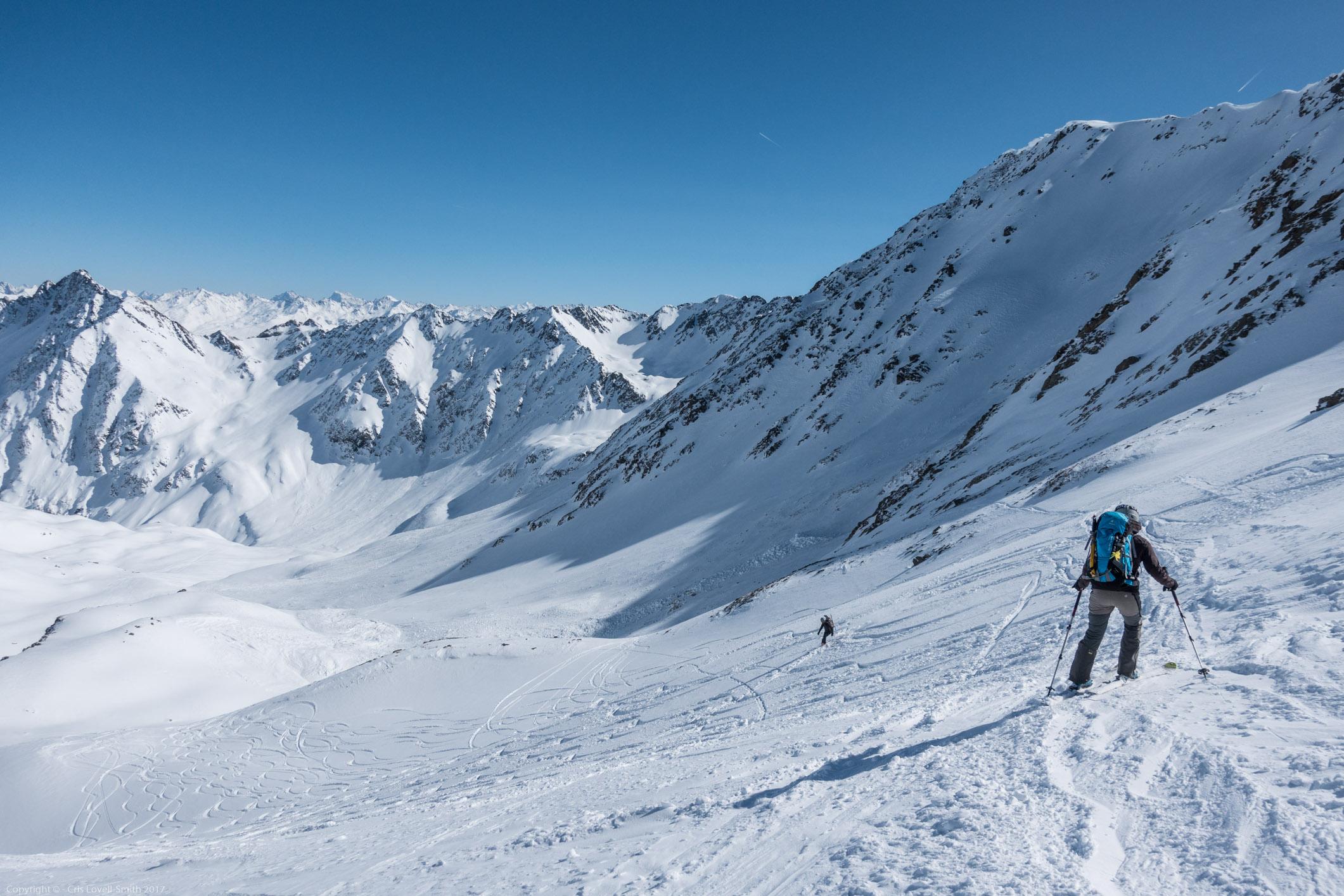 Leonie descending 2 (Arlberger Winterklettersteig March 2017)