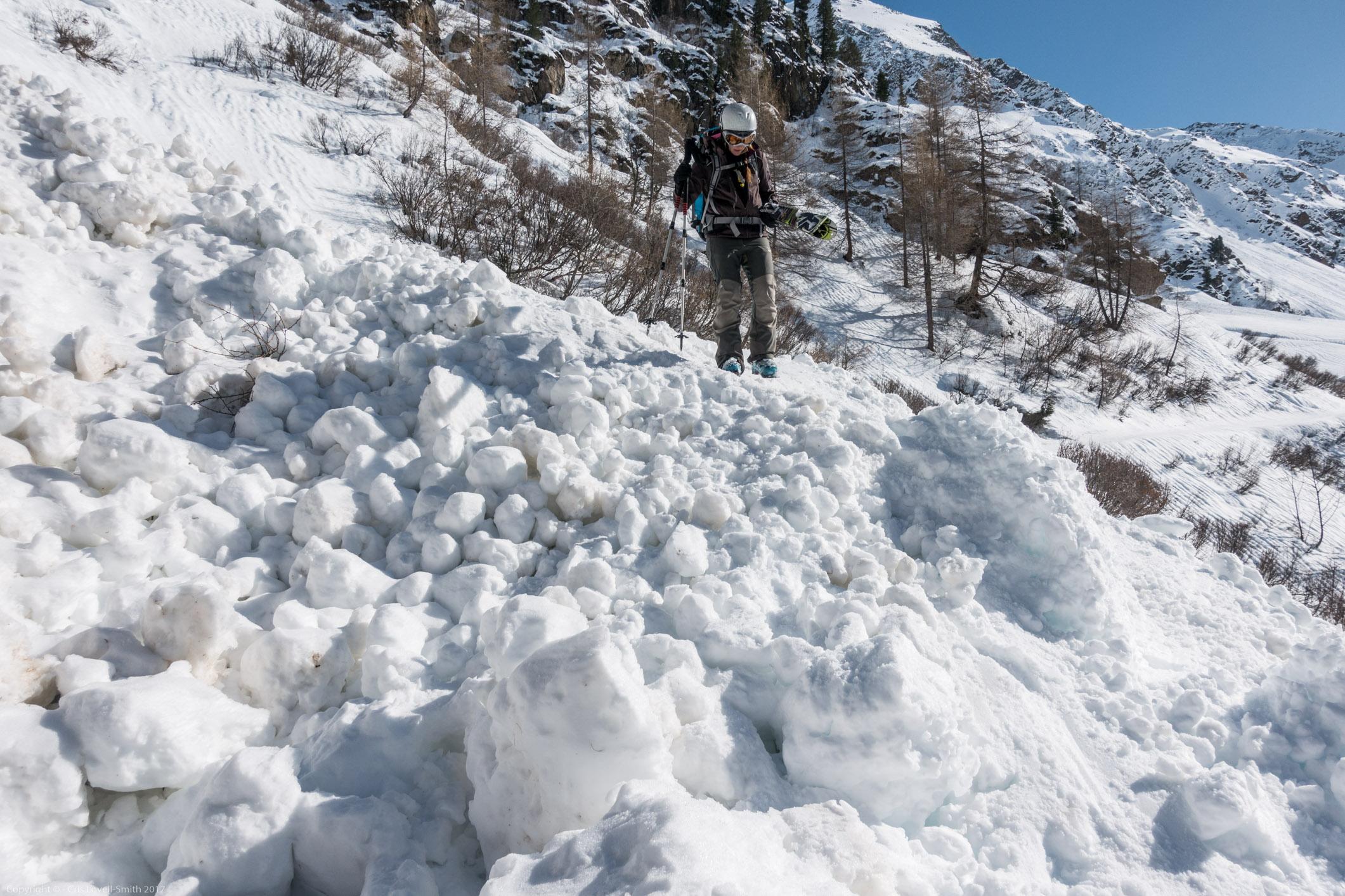 Leonie on avalanche debris (Arlberger Winterklettersteig March 2017)