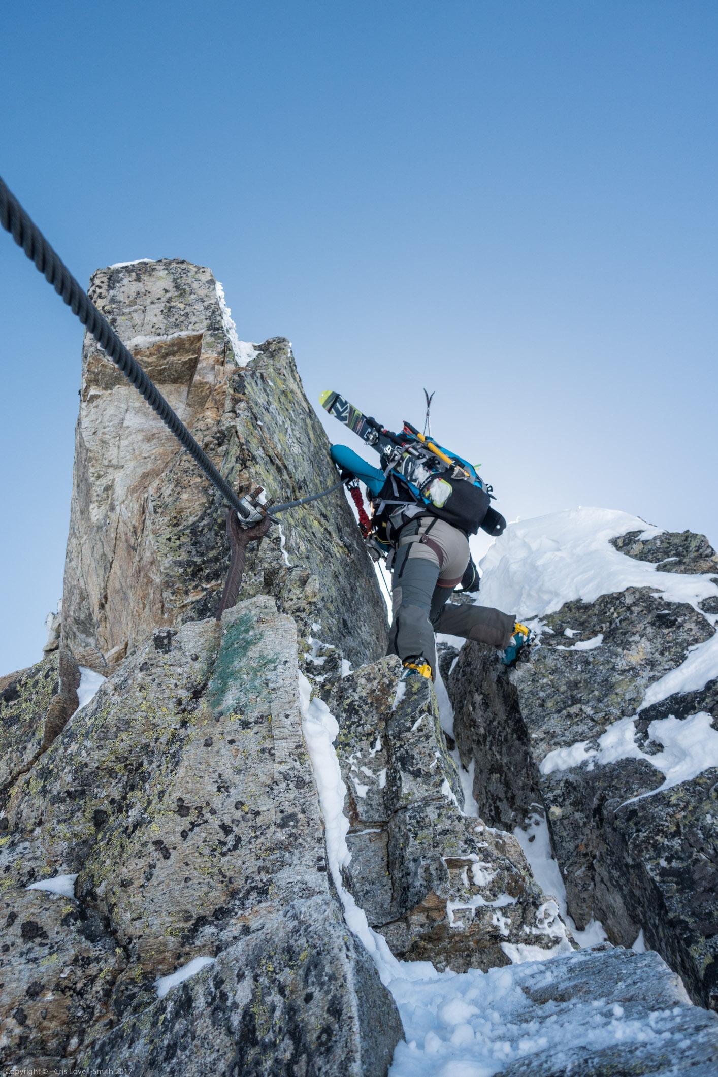 Leonie on the D section (Arlberger Winterklettersteig March 2017)