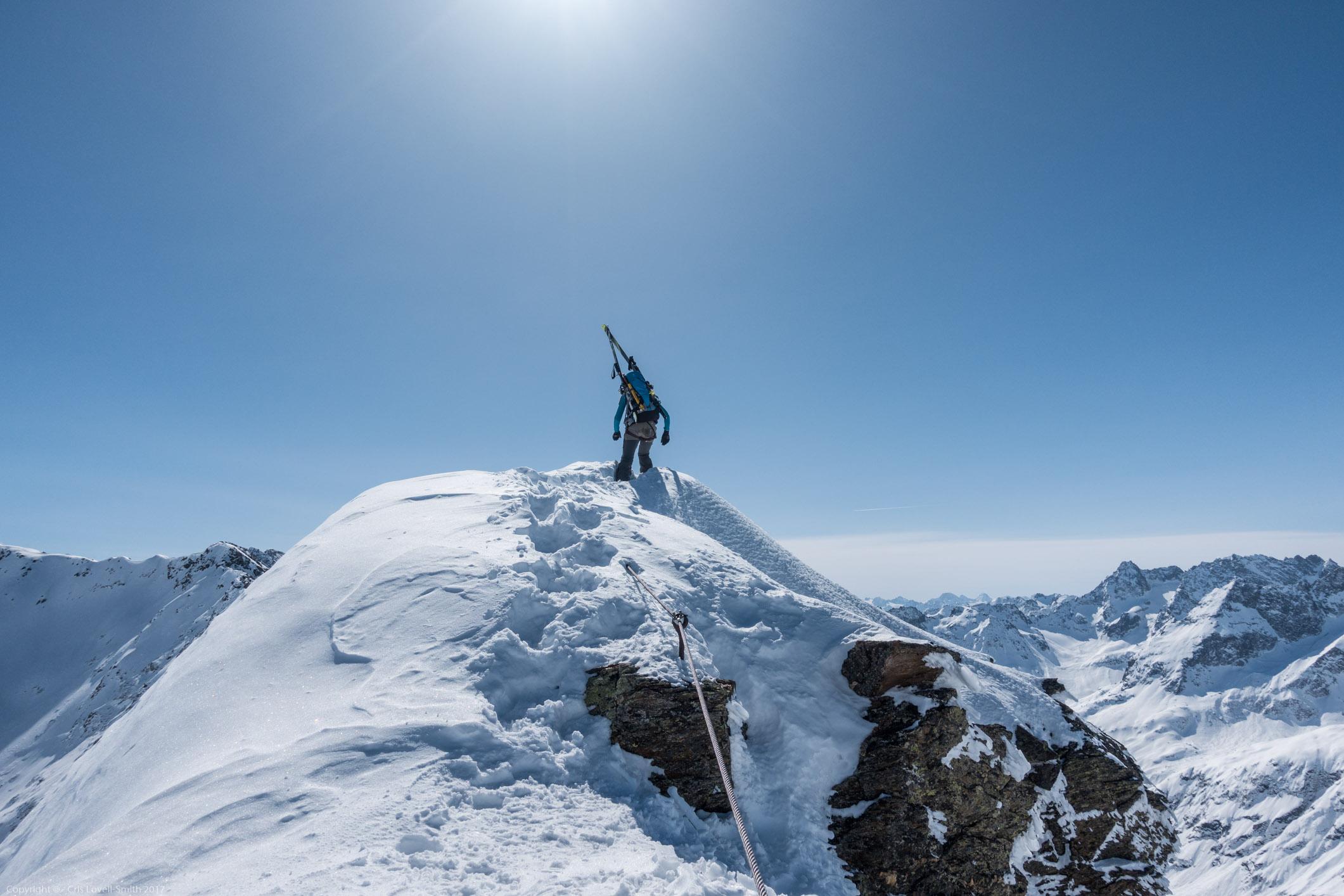 Leonie on the Vordere-Rendlspitze (Arlberger Winterklettersteig March 2017)