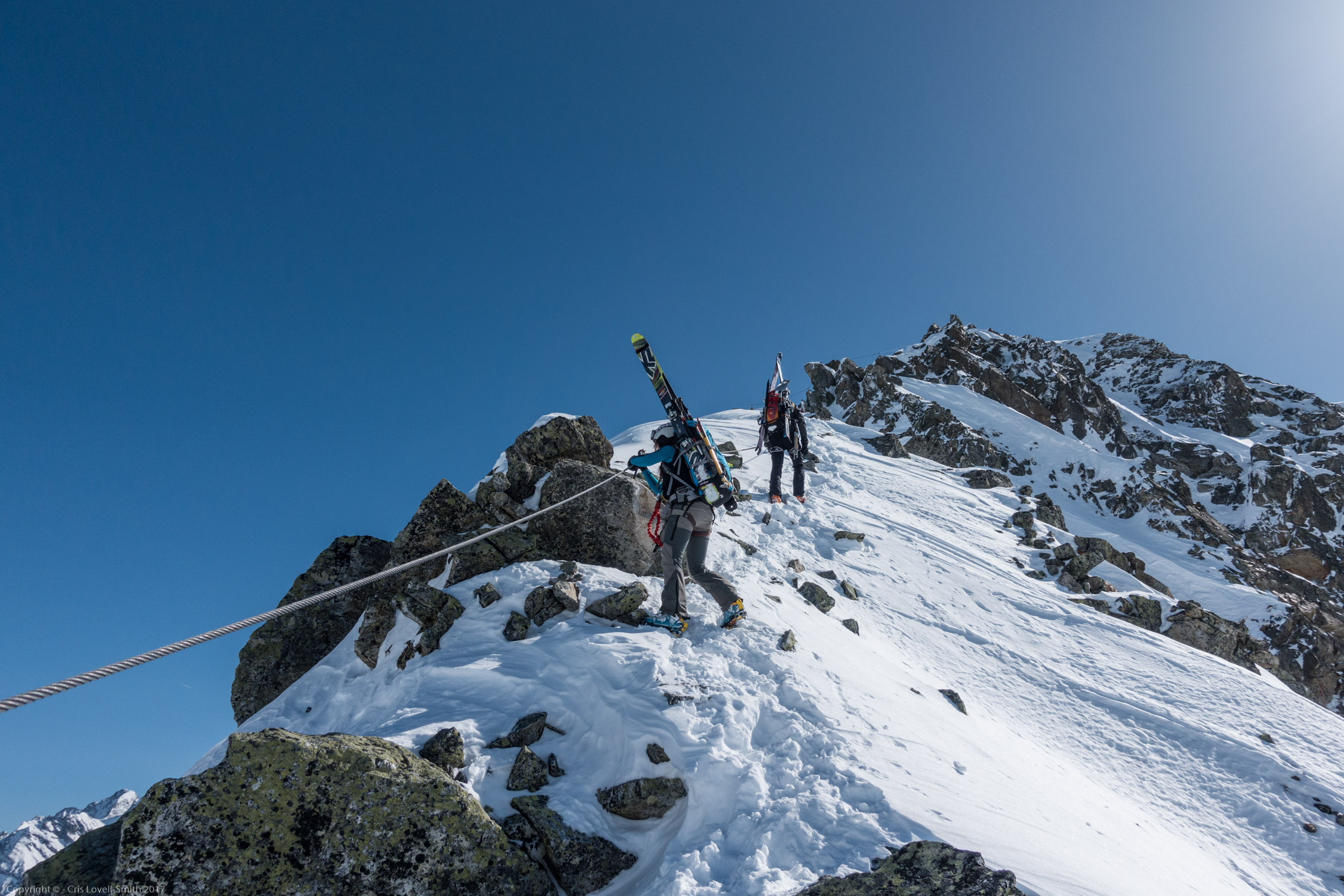 On the ridge (Arlberger Winterklettersteig March 2017)