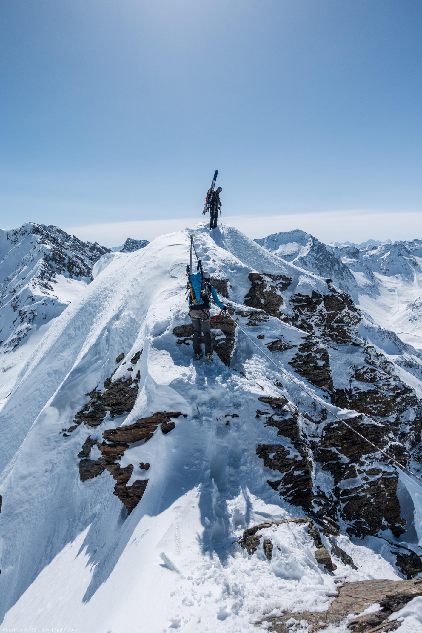 Reaching the summit (Arlberger Winterklettersteig March 2017)