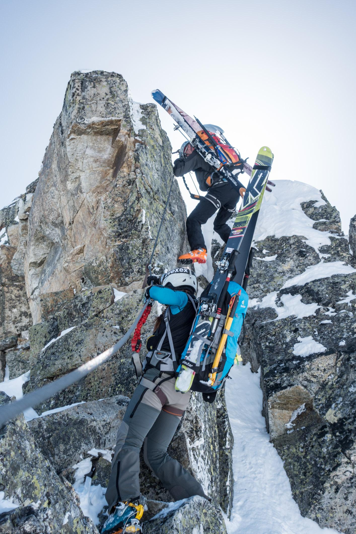 Tricky bit (Arlberger Winterklettersteig March 2017)