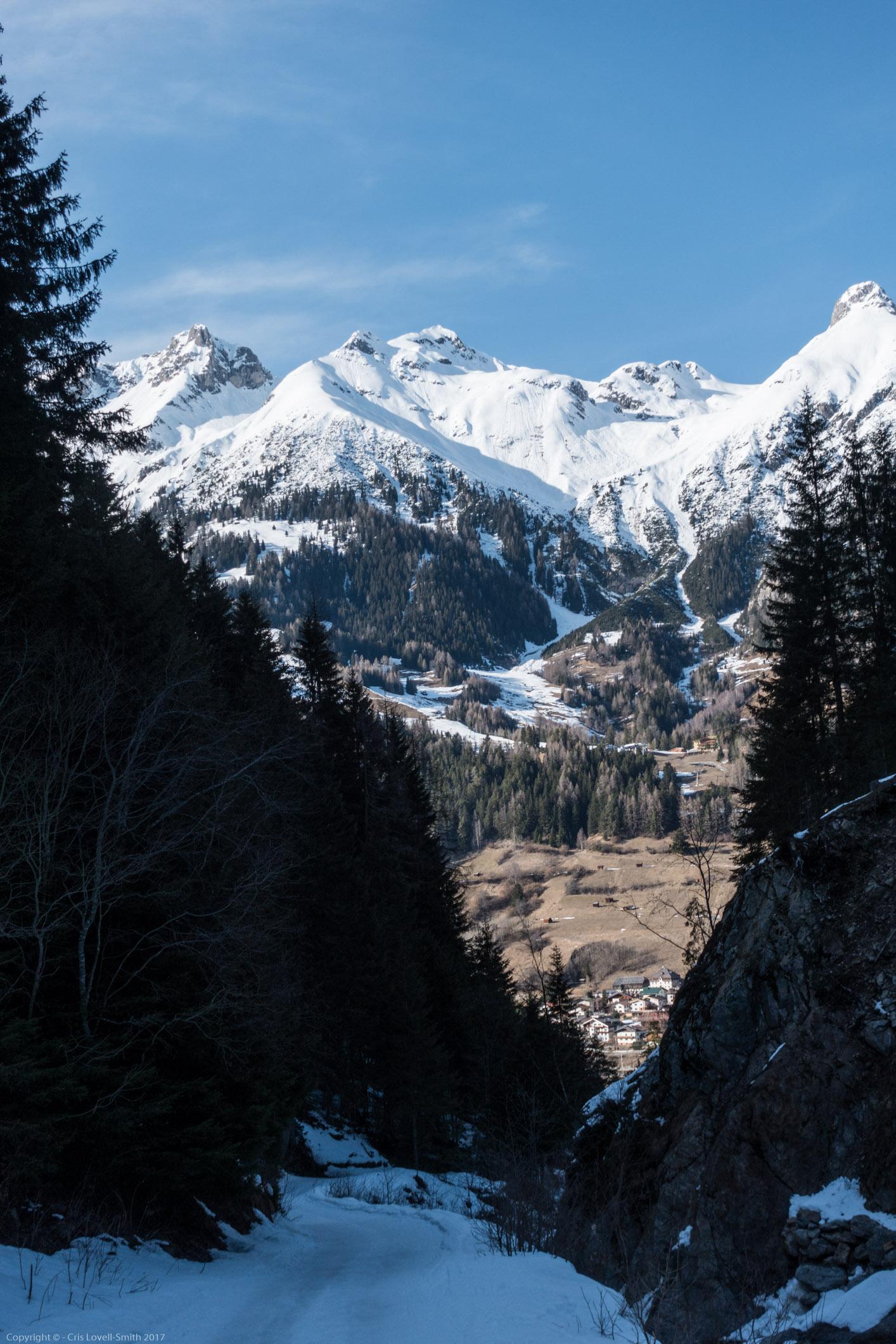 View down towards Pettneu (Arlberger Winterklettersteig March 2017)