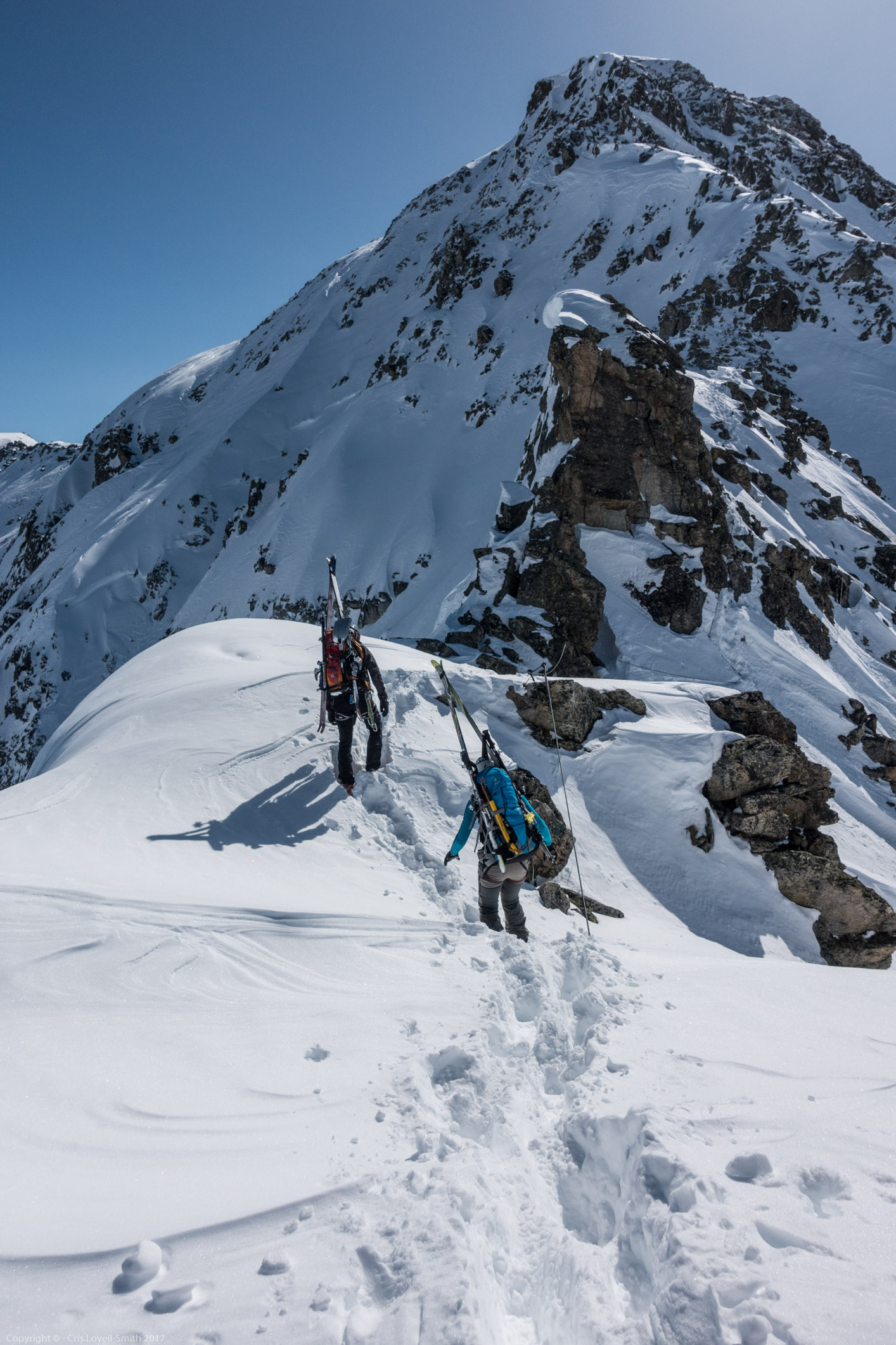 Walking along the ridge (Arlberg Winterklettersteig March 2017)