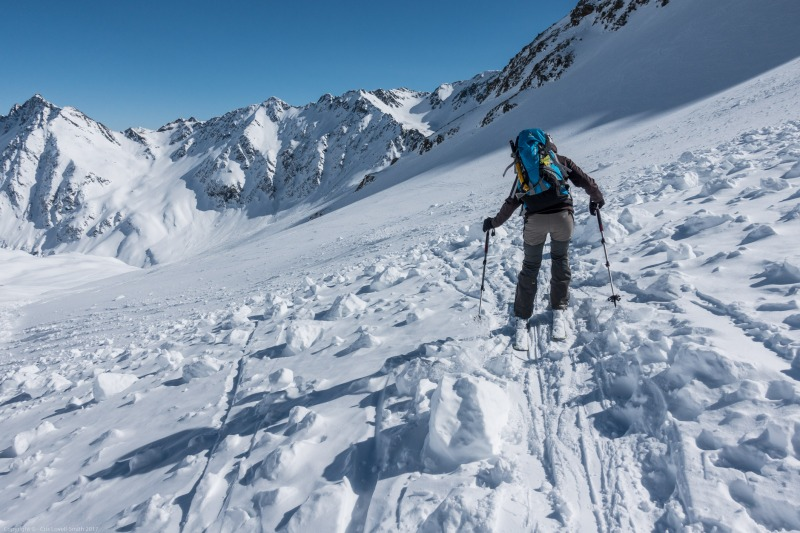 Leonie skiing through debris (Arlberger Winterklettersteig March 2017)
