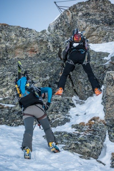 Onto the rope (Arlberger Winterklettersteig March 2017)
