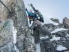 Leonie on the D section 2 (Arlberger Winterklettersteig March 2017)