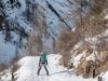 Leonie skiing down the ski track (Arlberger Winterklettersteig March 2017)