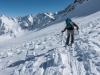 Leonie skiing through debris (Arlberger Winterklettersteig March 2017)