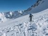 Leonie skis through debris (Arlberger Winterklettersteig March 2017)