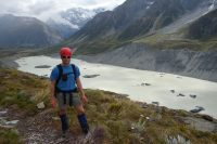 Cris in front of the Hooker Terminal Lake (Ball Pass Dec 2013)
