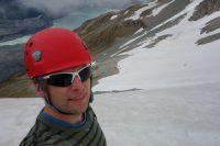 Cris with Tasman Terminal Lake below (Ball Pass Dec 2013)