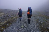 Gina and Hazel heading off into the mist (Ball Pass Dec 2013)