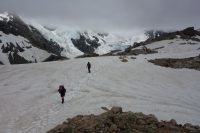 Gina and Kenneth crossing the snow (Ball Pass Dec 2013)