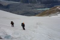 Mikey and Jeremy with Glacier below (Ball Pass Dec 2013)