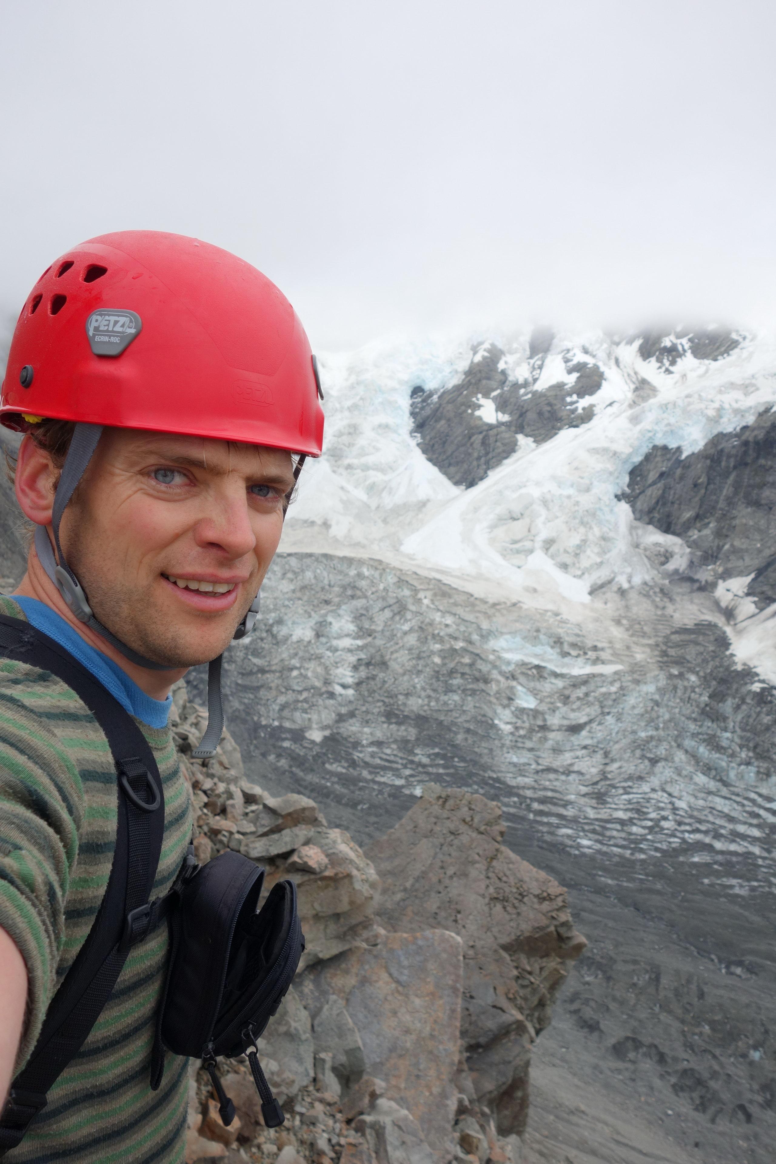 Cris with Caroline Glacier behind (Ball Pass Dec 2013)