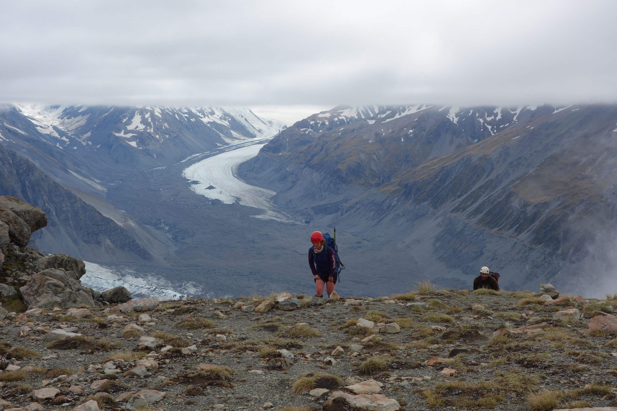 Gina and Jeremy with Tasman Glacier behind (Ball Pass Dec 2013)