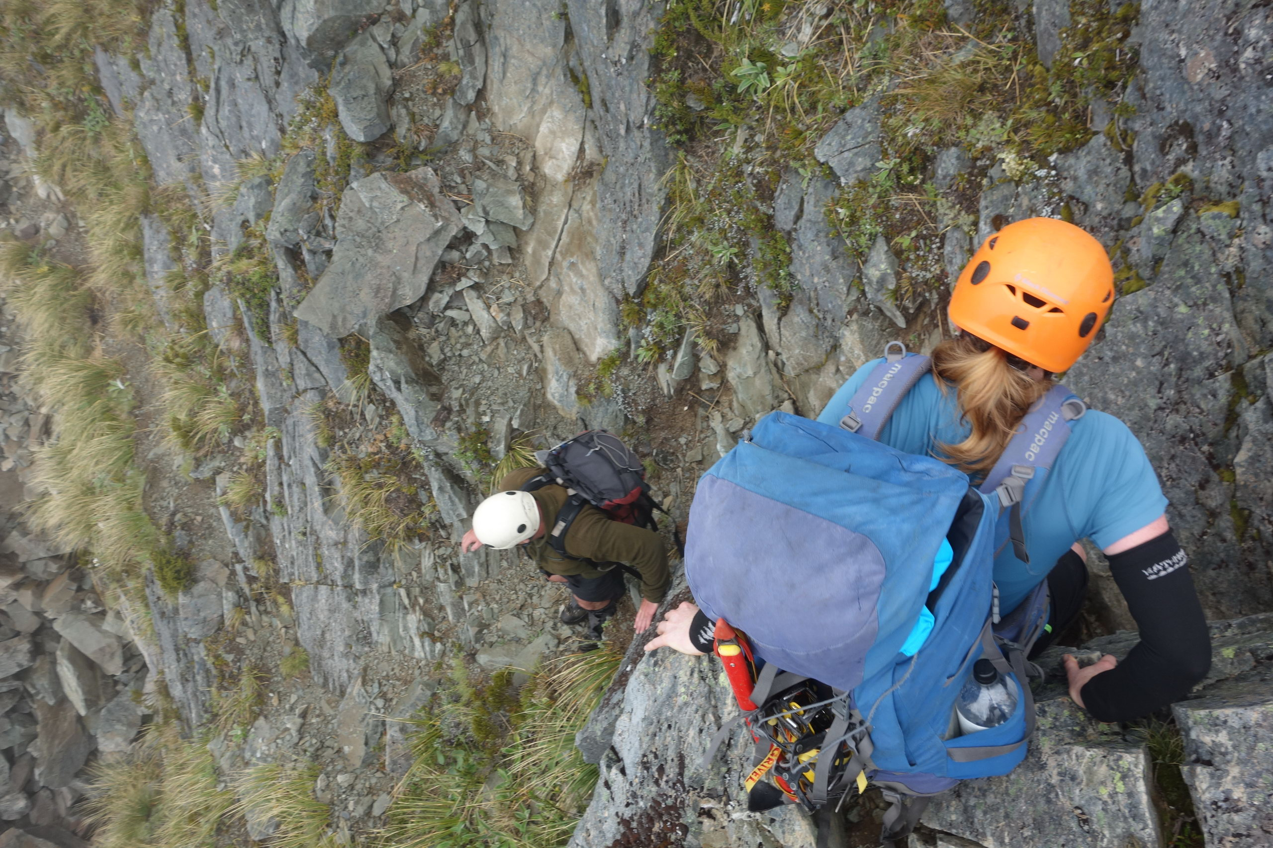Jeremy and Hazel climbing down a section (Ball Pass Dec 2013)