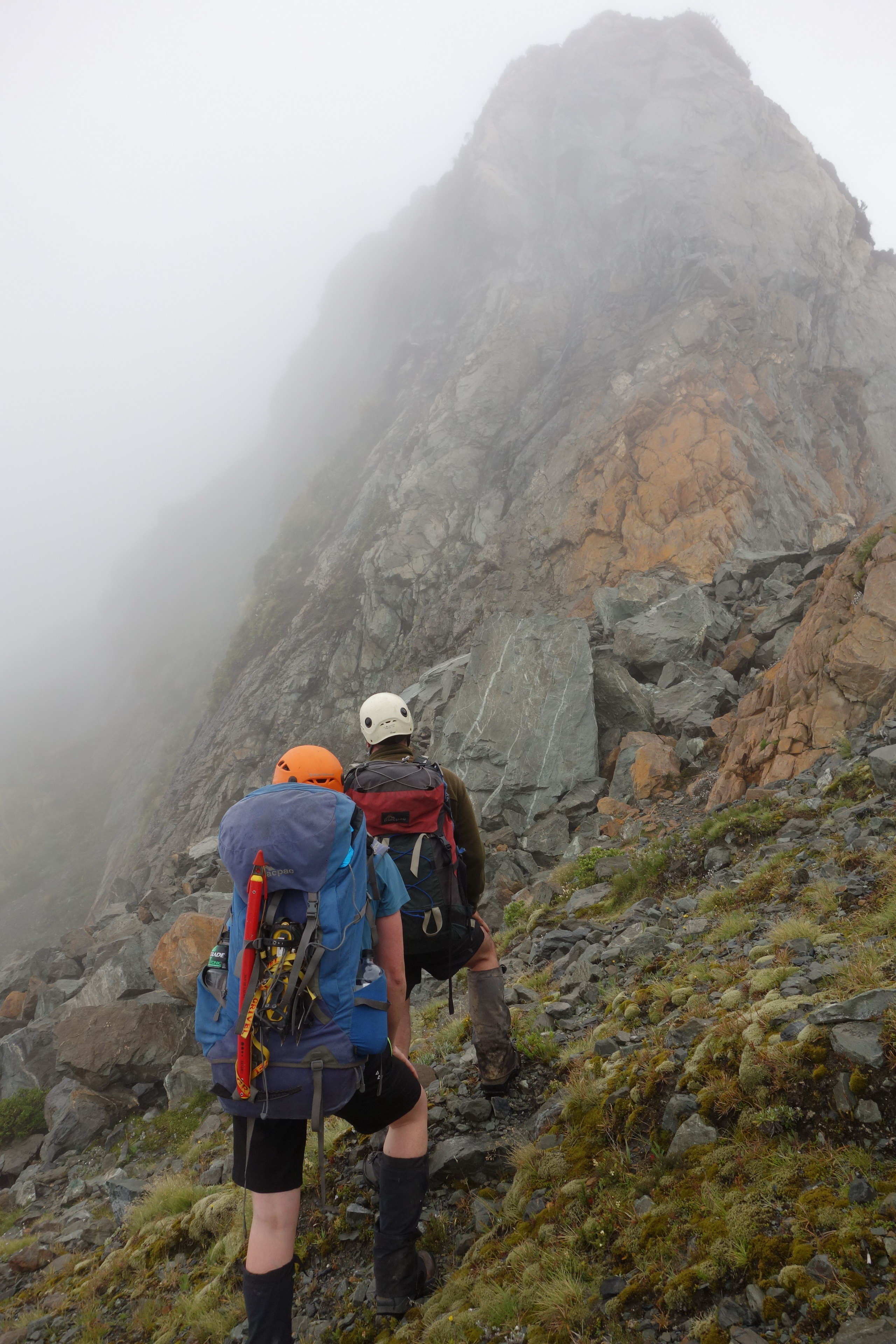 Jeremy and Hazel examine the ridge (Ball Pass Dec 2013)