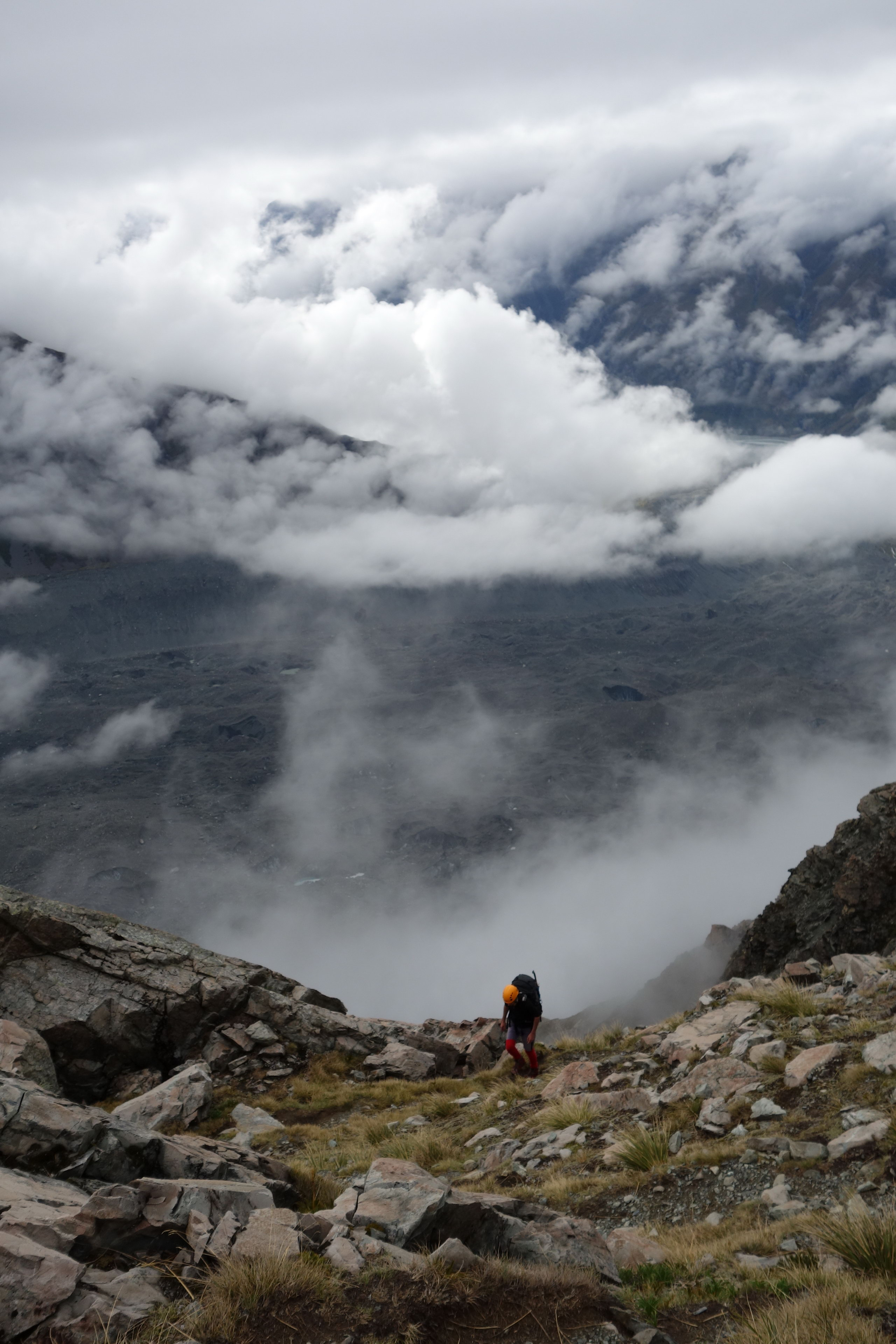 Mikey ascending with Tasman Glacier below (Ball Pass Dec 2013)