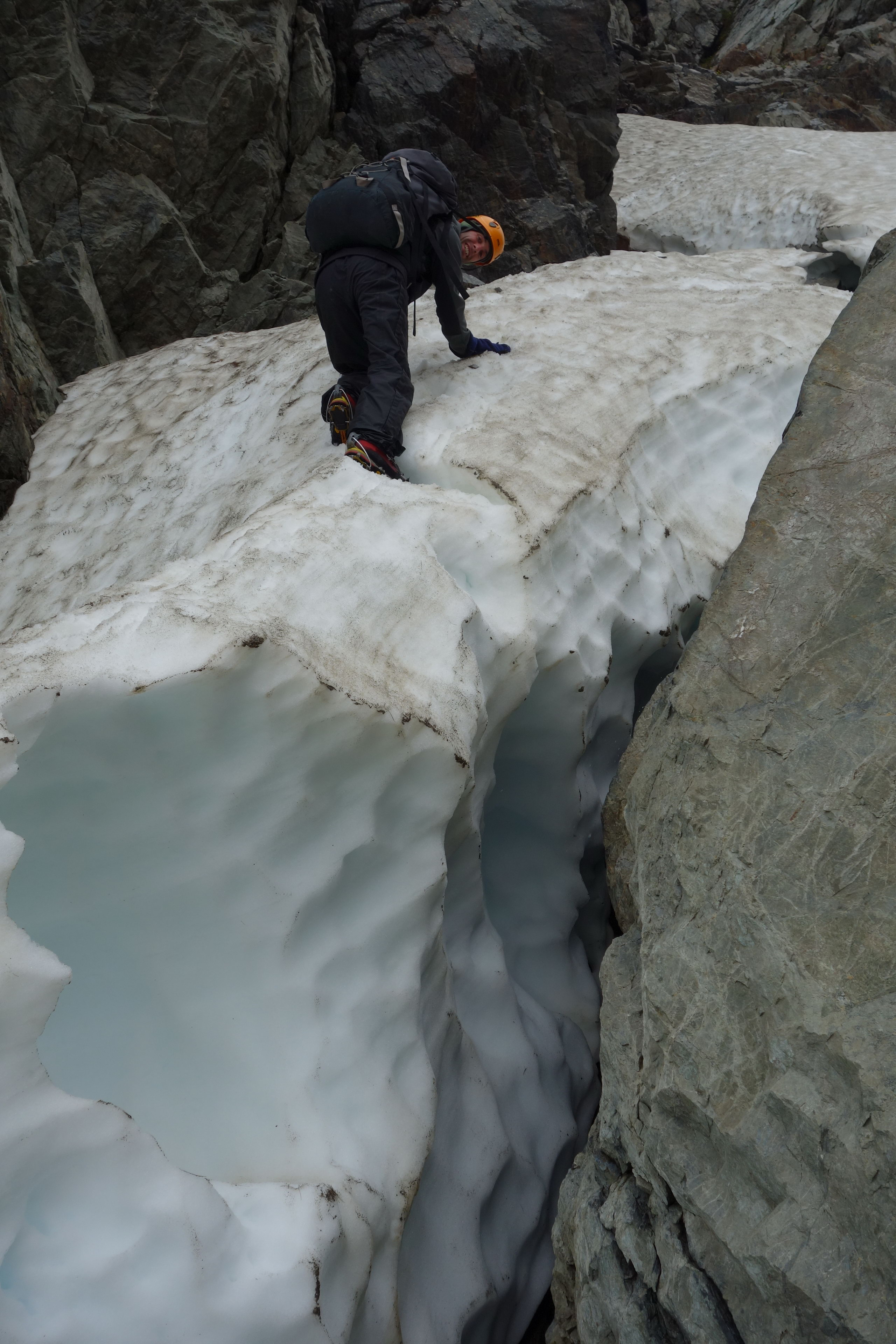 Mikey descending on snow (Ball Pass Dec 2013)
