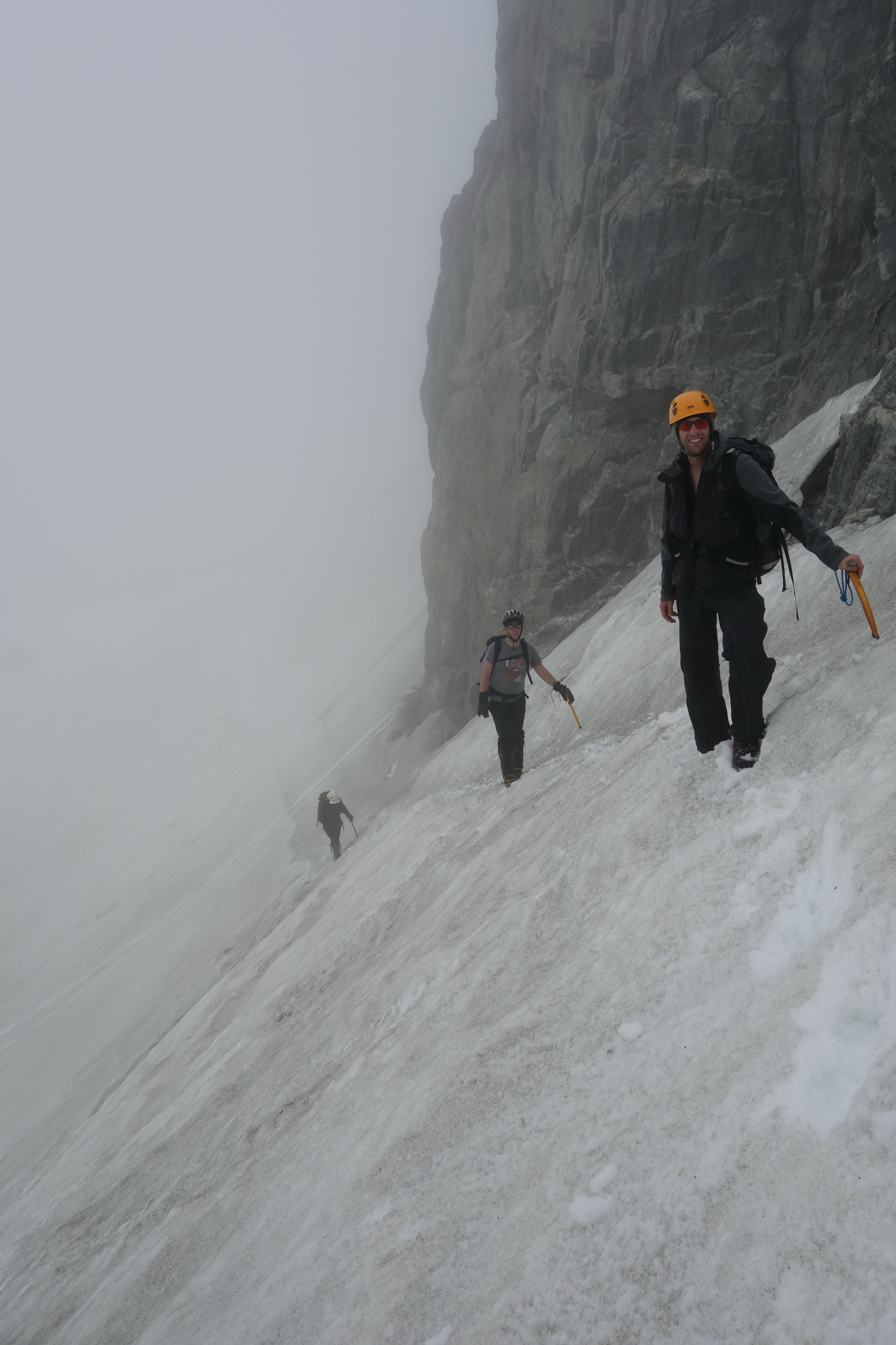 Mikey, Kenneth, and Jeremy crossing the snow (Ball Pass Dec 2013)