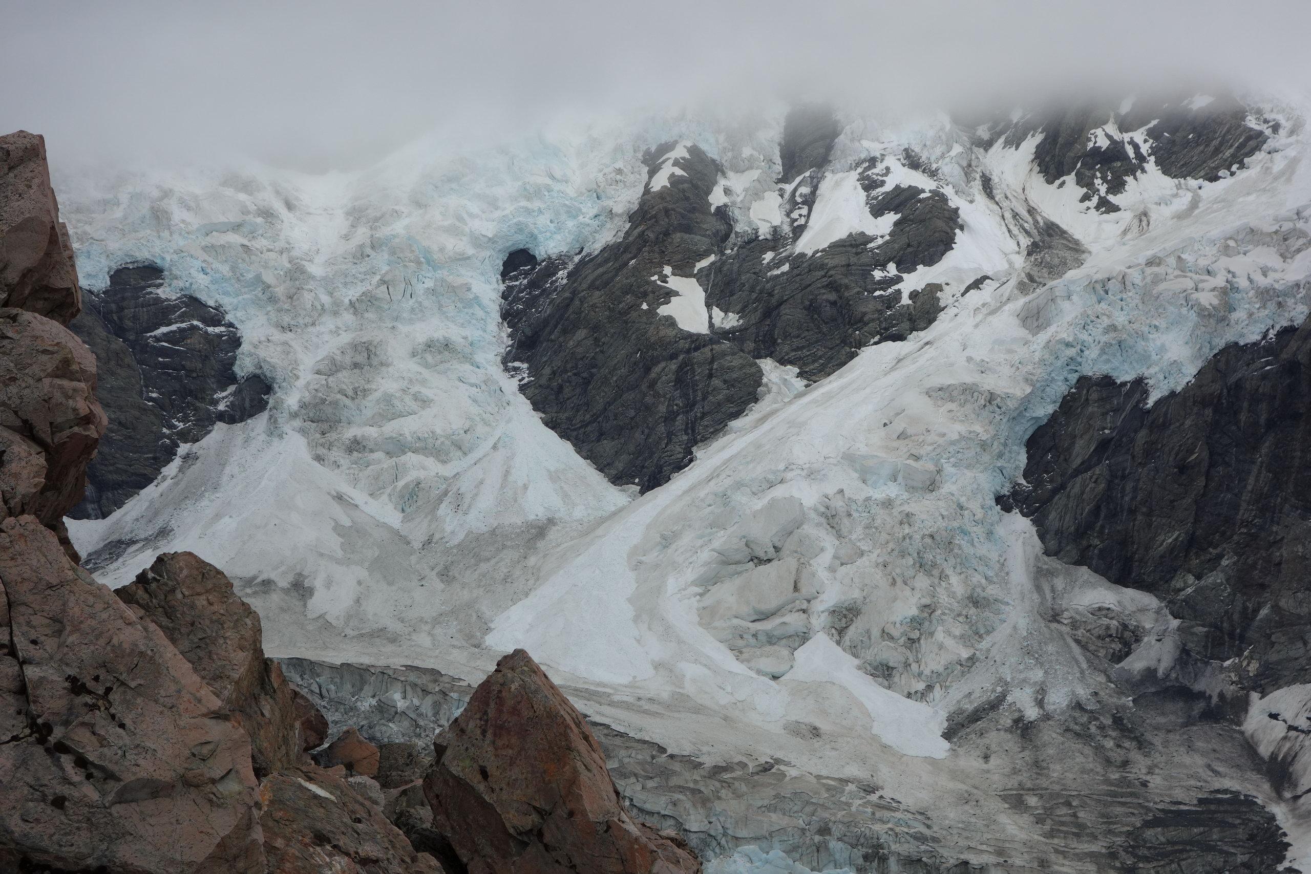 View of the bottom of the Caroline Glacier (Ball Pass Dec 2013)