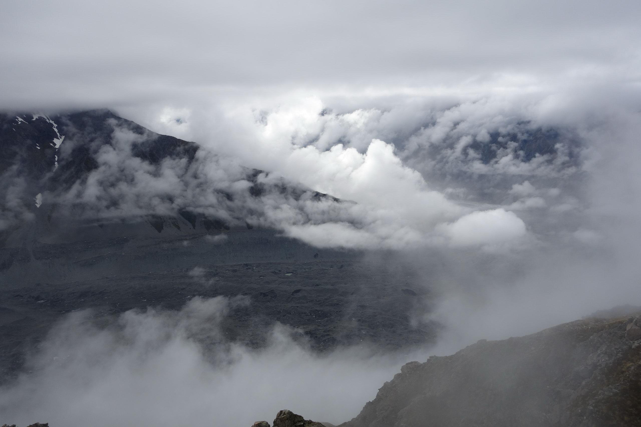View through the clouds to Tasman Glacier (Ball Pass Dec 2013)