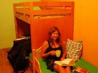 Sylvia in the hostel (Budapest, Hungary)