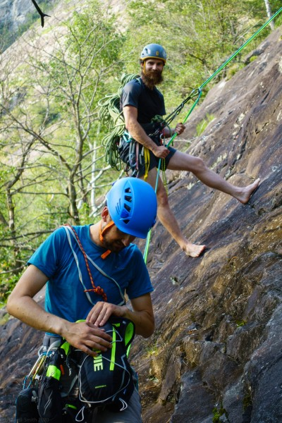 Alec and Pattrick finishing off their climb (Canyoning Italy 2019)