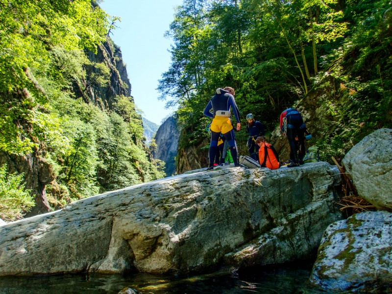 On a rock (Canyoning Italy 2019)