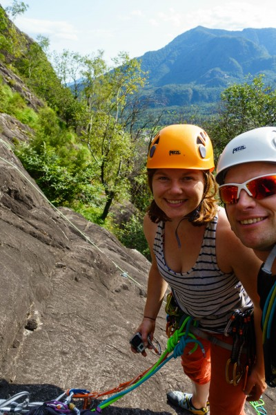 Verena and Cris climbing (Canyoning Italy 2019)