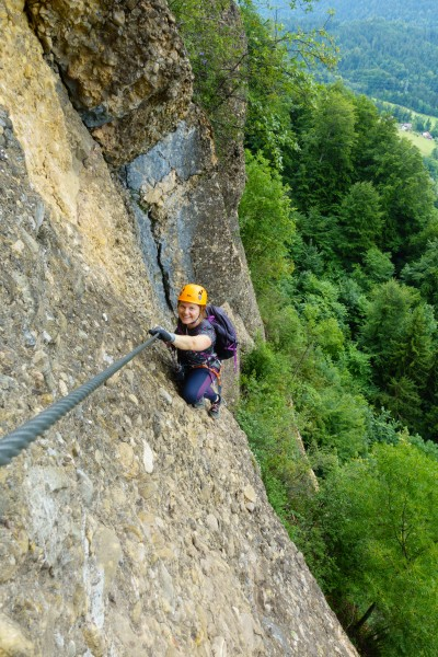 Verena on klettersteig (Canyoning Italy 2019)