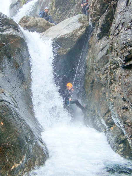 Verna about to get wet (Canyoning Italy 2019)