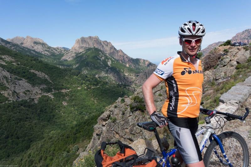 Cris on his bike (Corsica)