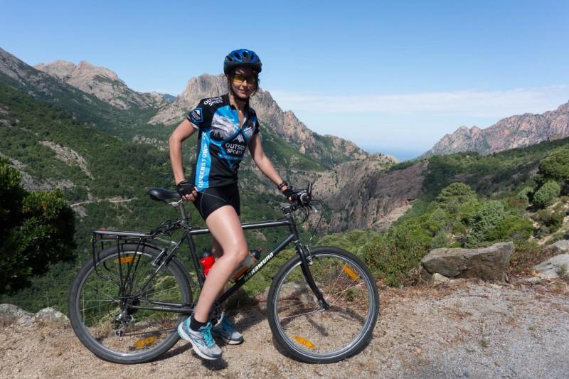 Leonie on her bike (Corsica)