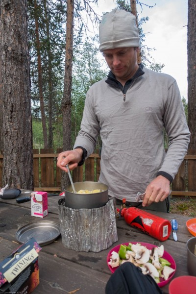 Cooking dinner (Cycle Touring Norway 2016)