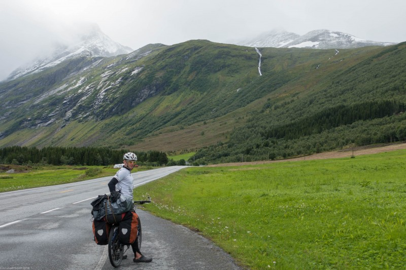 Cris and bike (Cycle Touring Norway 2016)
