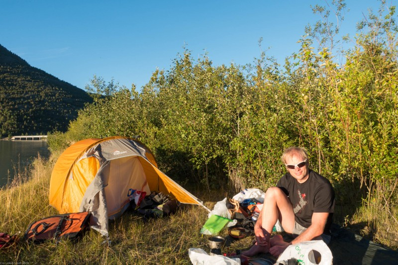 Cris and tent (Cycle Touring Norway 2016)