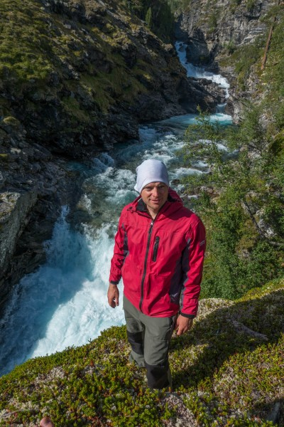 Cris and waterfall (Cycle Touring Norway 2016)