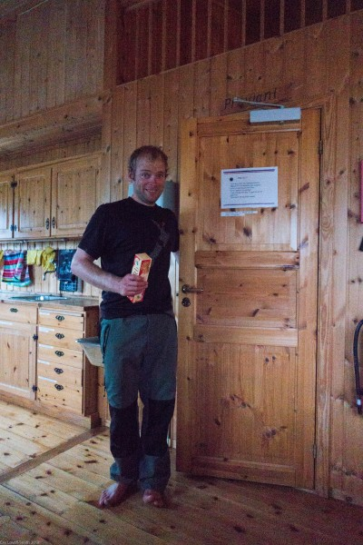 Cris raiding the food room (Cycle Touring Norway 2016)
