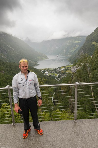 Cris with Geiranger below (Cycle Touring Norway 2016)