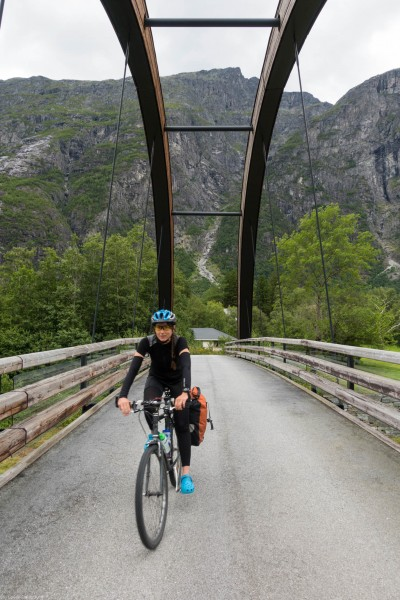 Crossing a bridge 2 (Cycle Touring Norway 2016)