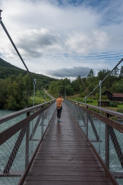 Crossing a bridge (Cycle Touring Norway 2016)