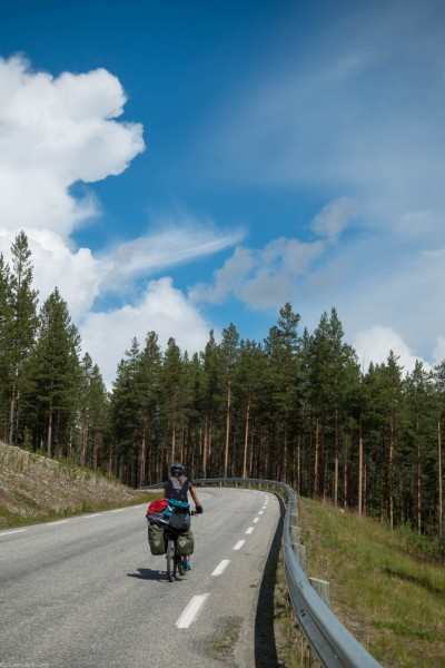 Cycling with blue (Cycle Touring Norway 2016)