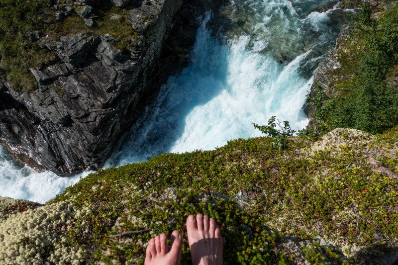 Feet and waterfall (Cycle Touring Norway 2016)
