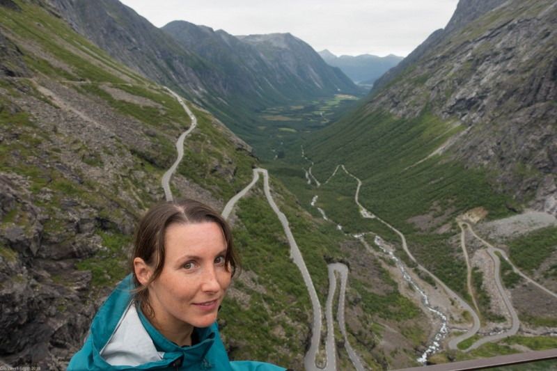 Leonie above the Trollstigen (Cycle Touring Norway 2016)